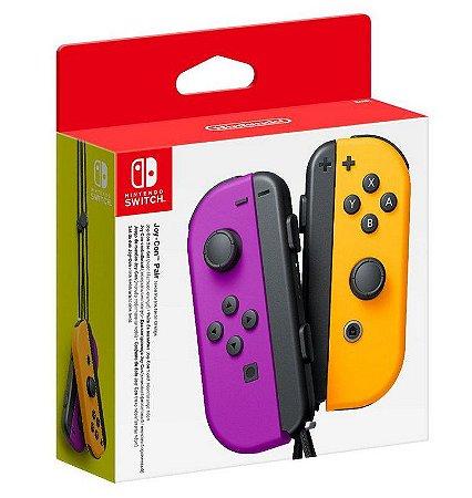 Periférico Nintendo Switch Novo Joy-Con Neon Roxo / Neon Laranja