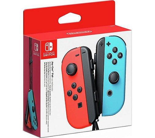 Periférico Nintendo Switch Novo Joy-Con Neon Vermelho / Neon Azul