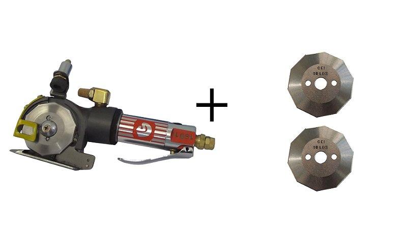 Kit Máquina De Corte Tecido Pneumática + 2 Discos