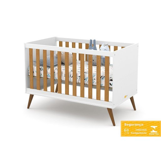 Berço de Bebê Gold Branco Soft Freijó Eco Wood Matic