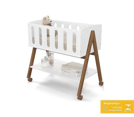 Mini Berço de Bebê Sissi Branco Soft Eco Wood Matic