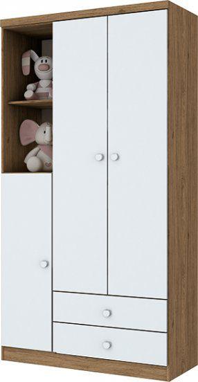 Guarda-roupa de Bebê com 3 Portas e 2 Gavetas Bala de Menta Rústico e Branco Henn