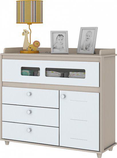 Cômoda de Bebê com 4 Gavetas e 1 Porta Aquarela Cristal e Branco Henn