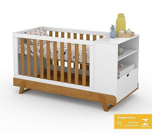 Berço de Bebê Bkids Multifuncional Branco Soft Freijó Matic
