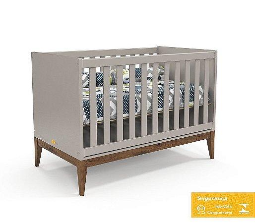 Berço de Bebê Nature Cinza Eco Wood Matic