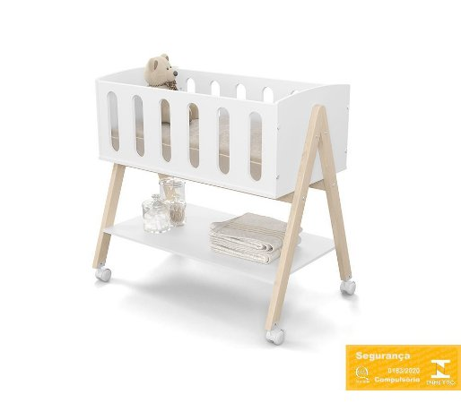Mini Berço de Bebê Sissi Branco Soft Nature Matic