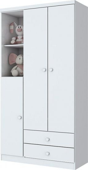 Guarda-roupa de Bebê com 3 Portas e 2 Gavetas Bala de Menta Branco Henn