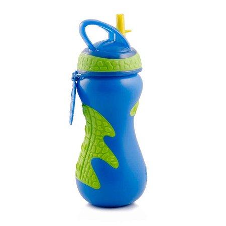 Copo Gator C/ Canudo Rigido Retratil NÛBY 450Ml Azul
