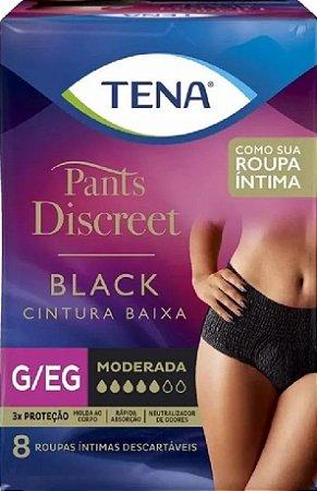 ROUPA ÍNTIMA TENA PANTS DISCREET BLACK G-EG C/ 8 UNIDADES