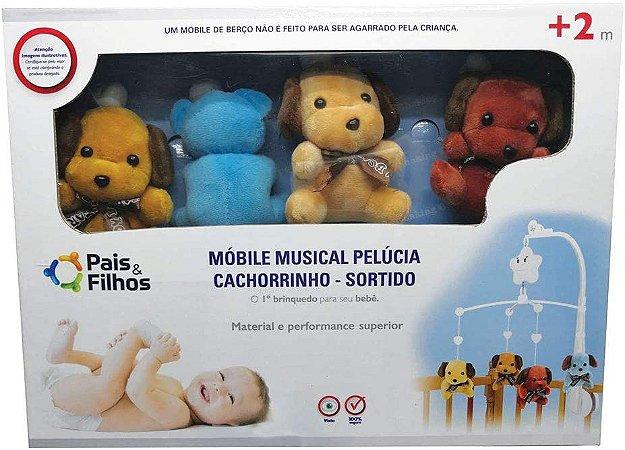 MOBILE MUSICAL PARA BERÇO CACHORRINHO PELÚCIA SORTIDO - PAIS E FILHOS