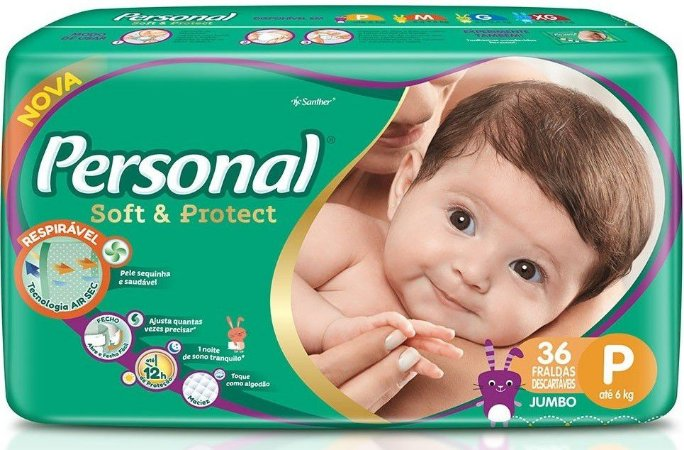 FRALDA PERSONAL SOFT & PROTEC P C/36 UNIDADES