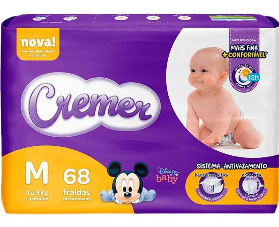 FRALDA CREMER DISNEY BABY MAGIC CARE HIPER M C/68 UNIDADES