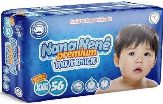 FRALDA NANA NENÊ PREMIUM TOQUE MACIO XXG C/56 UNIDADES