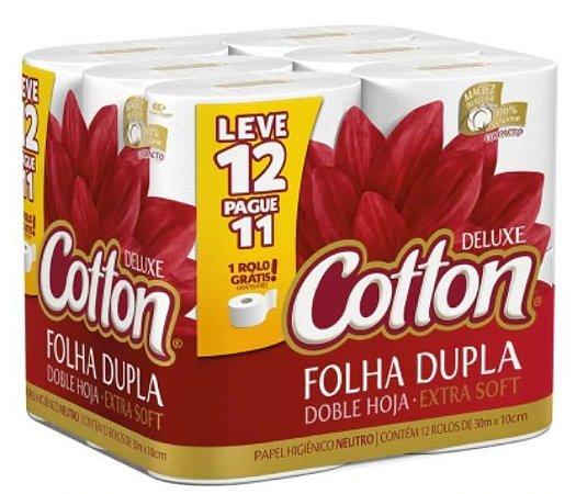 PAPEL HIGIÊNICO COTTON FOLHA DUPLA 30MT C/12 UNIDADES