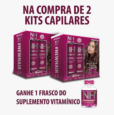 COMBO - 2 x NEW HAIR KIT CAPILAR 4 ITENS PARA USO DIARIO + NH CAPS GRÁTIS