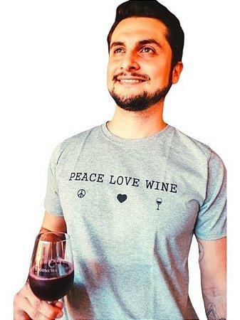 Camiseta Tema Vinho Peace, Love and Wine!