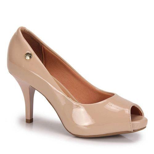Sapato Vizzano Peep Toe Verniz Bege