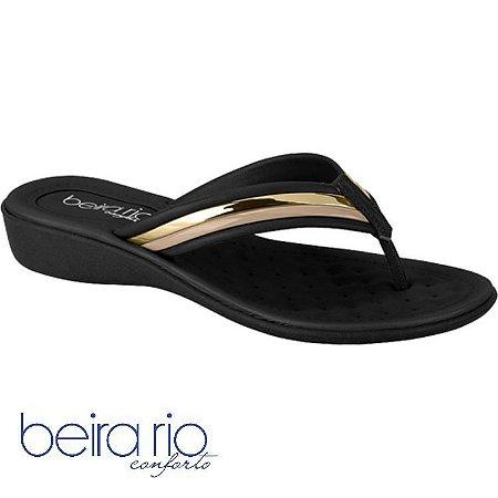 Tamanco Beira Rio Premium Napa Preto / Dourado 8224804