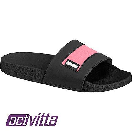 Slide Actvitta Feminino Preto / Pink Neon 4813102