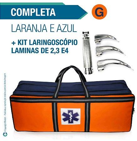 Bolsa Resgate Azul e Laranja Completa Tamanho G + Laringoscópio