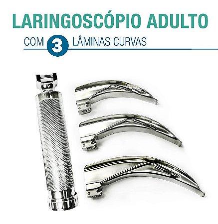 Kit Laringoscópio ADULTO com 03 Lâminas - Curvas (3,4,5)