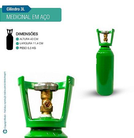 Cilindro de Oxigênio Medicinal em Aço 3 Litros (Sem carga)