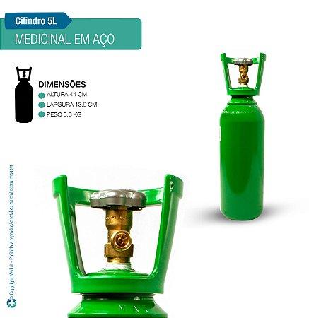 Cilindro de Oxigênio Medicinal em Aço 5 Litros (Sem carga)