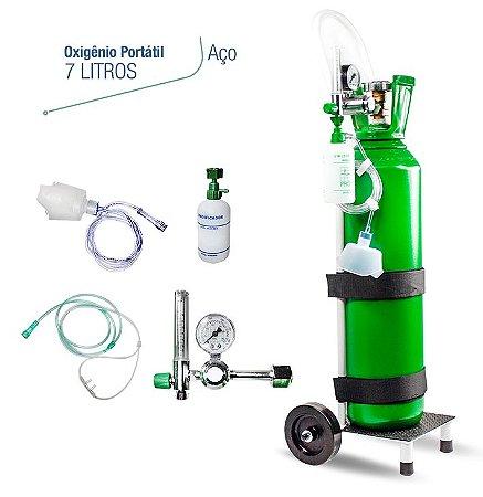 Kit Oxigênio 7 Litros em Aço com Carrinho (SEM CARGA)