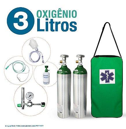 Kit Oxigênio Portátil 3 Litros com 2 Cilindros (Sem Carga)