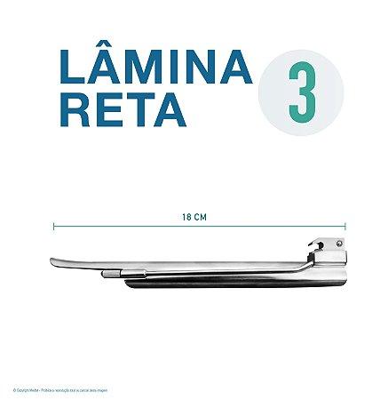 LAMINA LARINGO RETA CONVENCIONAL ACO INOX 3