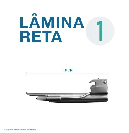 LAMINA LARINGO RETA CONVENCIONAL ACO INOX 1