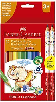 Ecolápis De Cor Triangular Jumbo Estojo Com 12 Cores + 2 Eco | Faber-Castell
