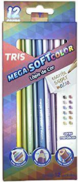 Lápis de Cor triangular Megasoft 12 Tons Metálicos | Tris