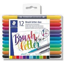 Marcador Artístico Brush Letter Ponta Dupla | 12 Cores | Staedtler