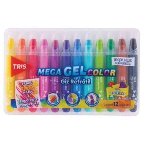 Giz De Cera 12 Cores Mega Gel Color Retrátil com cheirinho | Tris