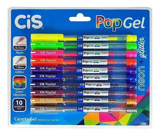 Caneta Esferográfica Pop Gel Conjunto Cores 5 Gliter + 5 Neon