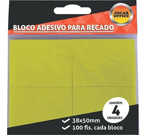 Bloco Adesivo Amarelo com 4 100 Folhas em cada bloco 38x50mm Jocar Office   Leonora