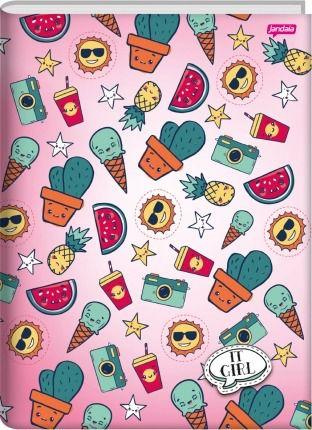 Caderno Brochura 1/4 It Girl Fundo Rosa Cacto e Melancia | Jandaia