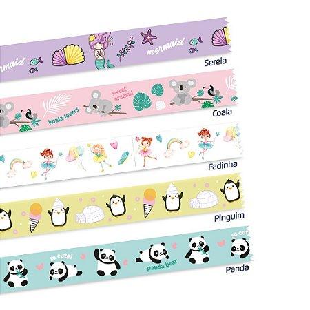Fita Adesiva Decorada Washi Tape 5MX15MM com 6 Fantasy | LEONORA
