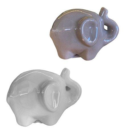 Enfeite de Porcelana Elefantinho   Cores Variadas   Importado