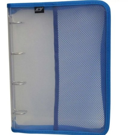 Fichário Universitário Transparente Cristal 250mmx340cmx 35mm PVC com Zíper Azul   ACP