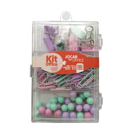 Kit Office Tom Pastel 100 clips, 40 alfinetes e 10 binder | Leonora
