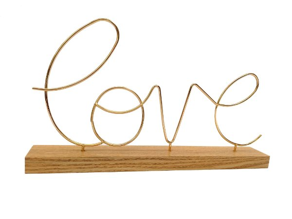 Enfeite De Madeira Dourado Love Decoração Casa Luxo | FWB
