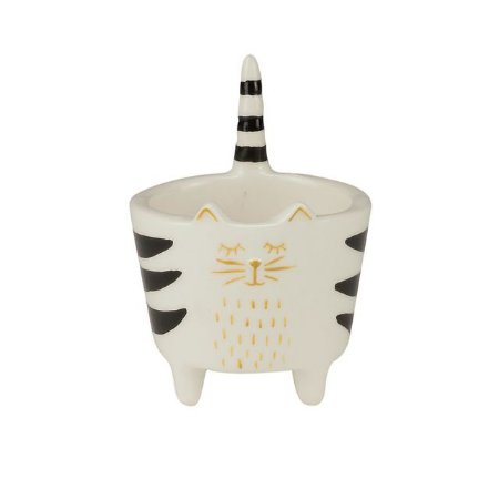 Cachepot Gatinho em Cerâmica Straight Stripped Tale Branco | Importado