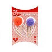 Clips Pom Pom Love com 2 unidades - Roxo e Laranja Neon | Molin