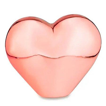 Enfeite de Coração Rose Gold em Porcelana   Importado
