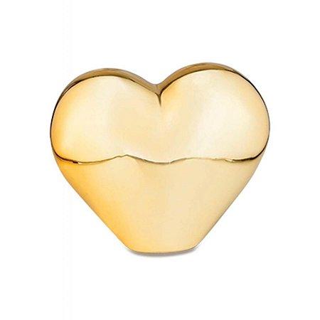 Enfeite de Coração Dourado em Porcelana   Importado