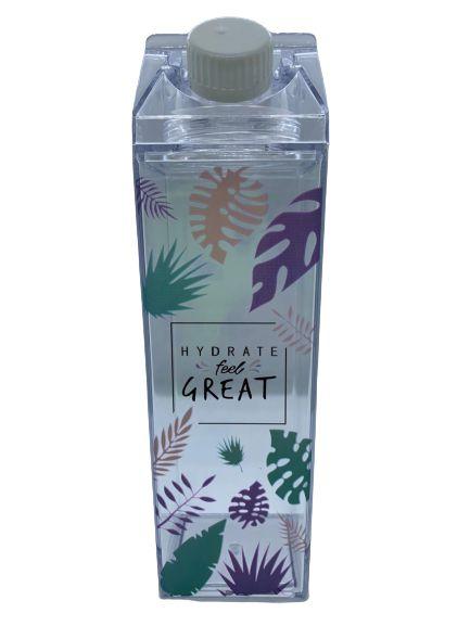 Garrafa Acrílica Milk Folhas - Hydrate Feel Great   Importada
