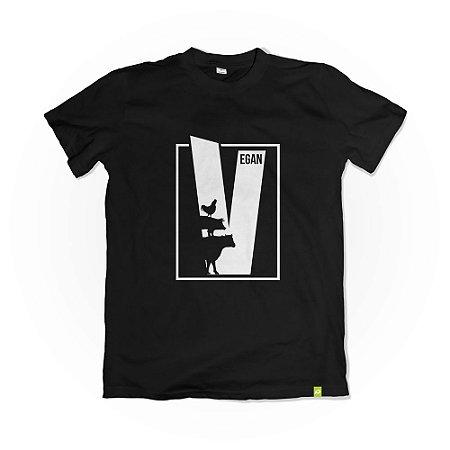 Camiseta V Vegan - Preta