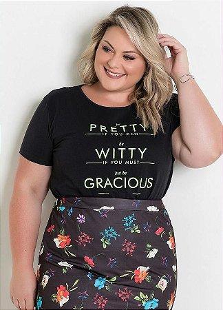 T-Shirt Plus Size com Estampa 3230910